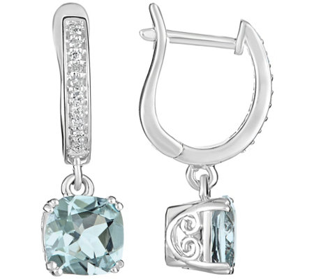 2.00 cttw Aquamarine & 1/10 cttw Diamond Earrings, Sterling