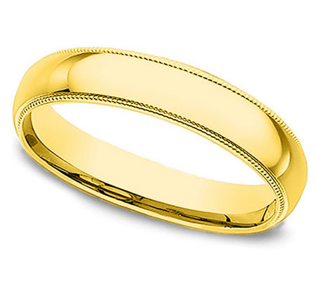 Sterling 3MM Unisex Milgrain Silk Fit Band R ing, 14K Clad
