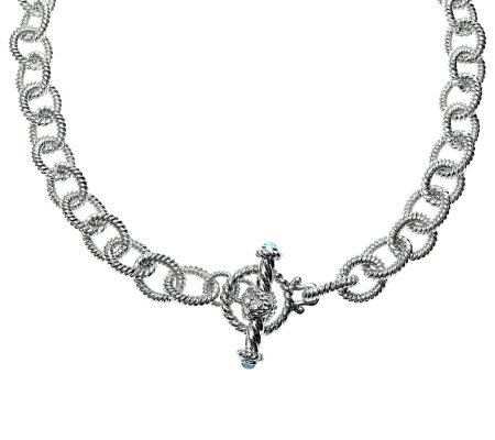 "Judith Ripka 5th Avenue 16"" Topaz Chain Necklace, Sterling"