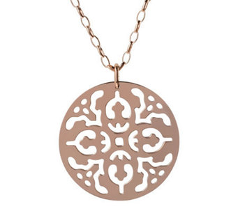 "Bronzo Italia Cutout Disc Pendant with 36"" OvalLink Chain - J313646"