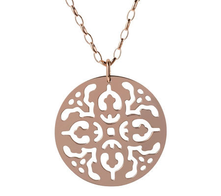 "Bronzo Italia Cutout Disc Pendant with 36"" OvalLink Chain"