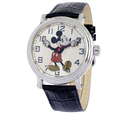 Disney Men's Vintage Mickey Watch w/ Black Leather Strap
