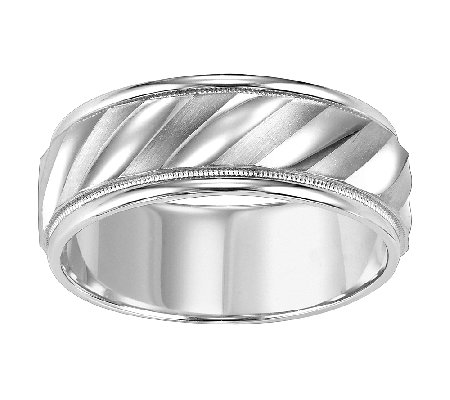 Sterling 8.0mm Men's Swirl Design Wedding Band