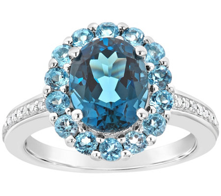 Sterling 3.50 cttw Blue Topaz & 1/10 cttw Diamond Ring