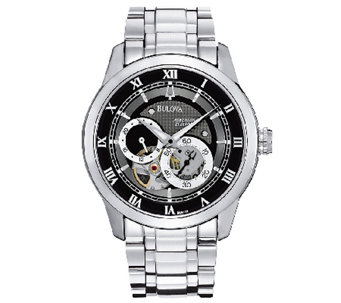 Bulova Men's Stainless Steel Black Dial Automatic Watch - J316446