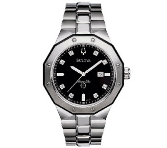 Bulova Men's Black Diamond Dial Bracelet Watch - J316546