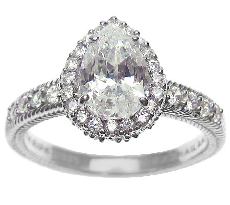 Judith Ripka Sterling 1.90 cttw Pear DiamoniqueHalo Ring