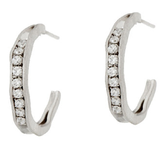 "Vicenza Silver Sterling 1"" Diamonique J-Hoop Earrings - J319746"