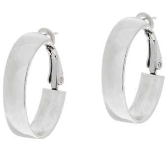 "Sterling Silver Oval 1"" Omega Back Hoop Earrings by Silver Style - J320146"