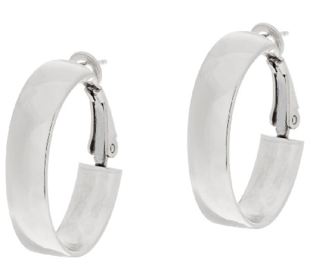 "Sterling Silver Oval 1"" Omega Back Hoop Earrings by Silver Style"