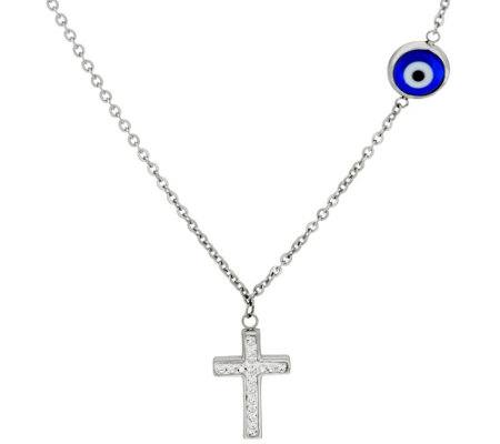 "Stainless Steel 18"" Evil Eye Crystal Cross Necklace"