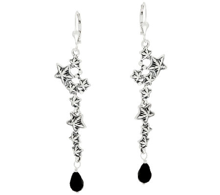 Star & Onyx Bead Sterling Dangle Earrings by American West