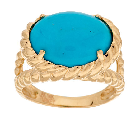 """As Is"" 14K Gold Sleeping Beauty Turquoise Rope Design Ring"