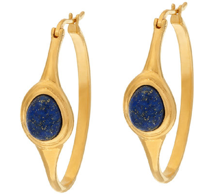 Veronese 18K Clad Lapis Cabochon Hoop Earrings