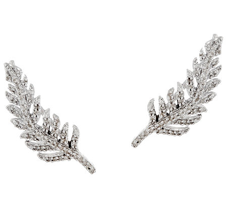 Feather Diamond Ear Climbers, Sterling, 1/4 cttw, by Affinity