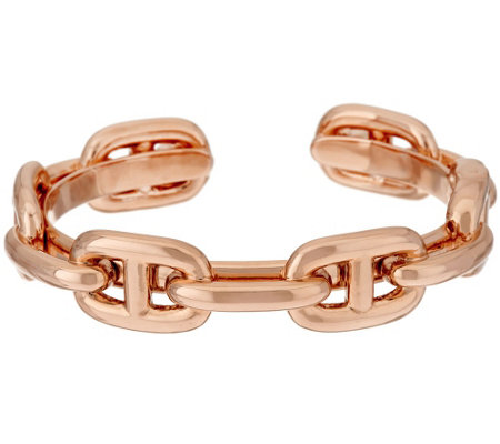 """As Is"" Bronzo Italia Polished Status Marine Link Cuff Bracelet"