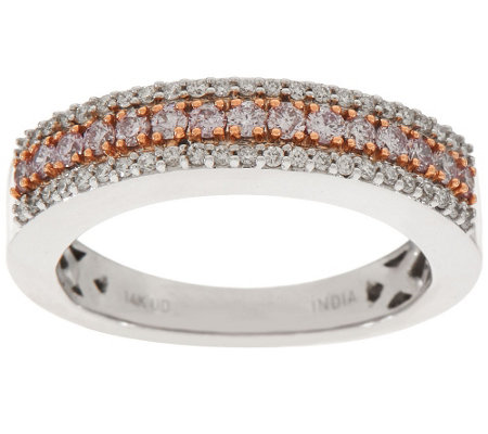 """As Is"" Natural Pink & White Diamond Band Ring, 14K, 1/2 cttw Affinity"
