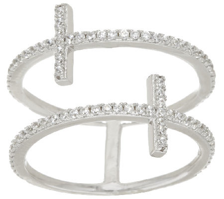 """As Is"" Vicenza Silver Sterling Diamonique Cross Design Ring"