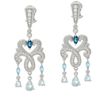 Judith Ripka Sterling 2.10 cttw Blue Topaz Earrings - J328746