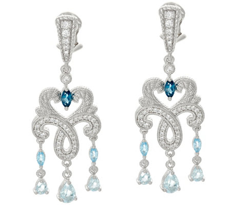 Judith Ripka Sterling 2.10 cttw Blue Topaz Earrings