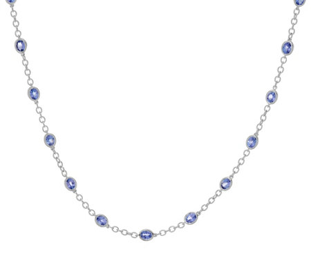 "Tanzanite Sterling Silver 36"" Station Necklace 11.00 cttw"