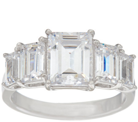 Diamonique Five Stone Emerald Cut Ring, Platinum Clad