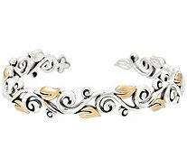Barbara Bixby Sterling & 18K Yellow Gold Vine Hinged Cuff Bracelet - J329646