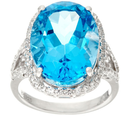 Oval Swiss Blue Topaz & White Topaz Sterling Ring 14.50 cttw