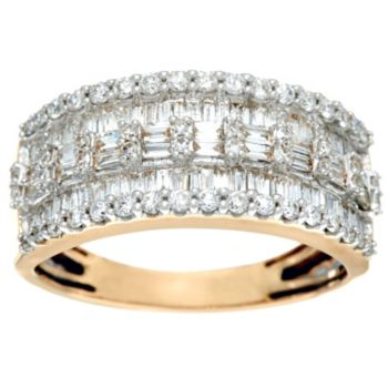 Baguette & Round Diamond Band Ring, 14K, 1.00 cttw, by Affinity