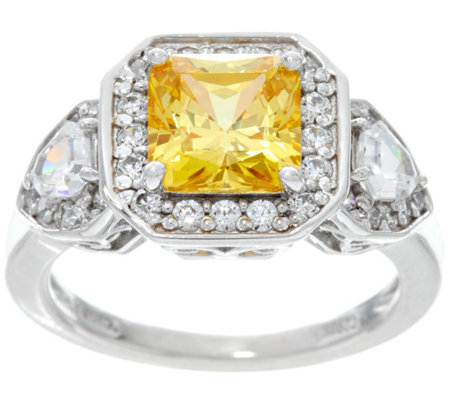 Diamonique Canary Yellow Princess Cut Ring, Sterling