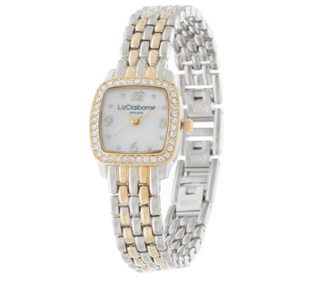 """As Is"" Liz Claiborne New York Panther Link Mother of Pearl Watch"