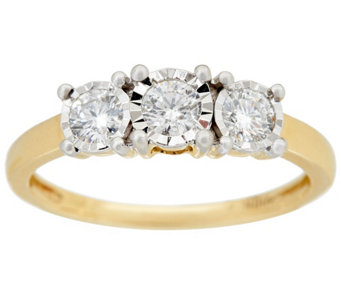 """As Is"" 3-Stone Diamond Miracle Ring, 14K, 1/2cttw by Affinity - J331446"