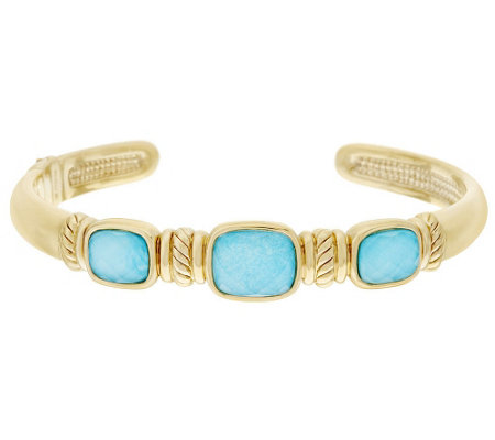 """As Is"" 14K Gold Large Sleeping Beauty Turquoise Doublet Cuff"