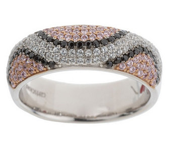 """As Is"" Hidalgo Diamonique Sterling Snake Print Pave Band Ring - J331846"
