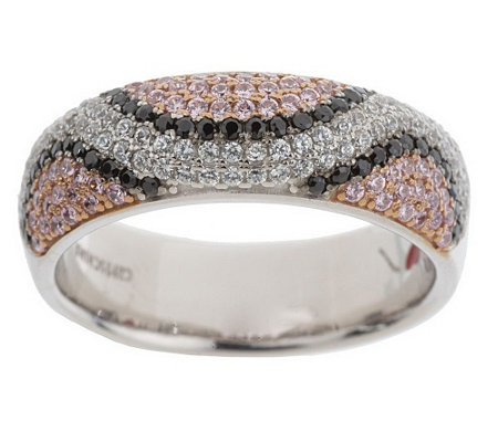 """As Is"" Hidalgo Diamonique Sterling Snake Print Pave Band Ring"