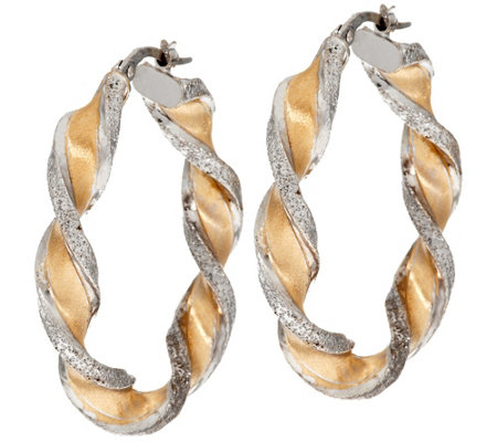 """As Is"" Vicenza Gold 1-1/2"" Satin Diamond Cut Twist Hoop Earrings, 14K"