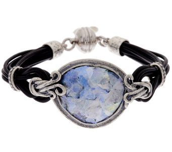 """As Is""Sterling Silver Roman Glass Leather Station Bracelet Or Paz - J333246"