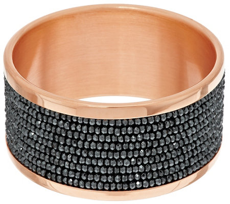 """As Is"" Bronze Multi-Row Hematite Bead Bangle by Bronzo Italia"