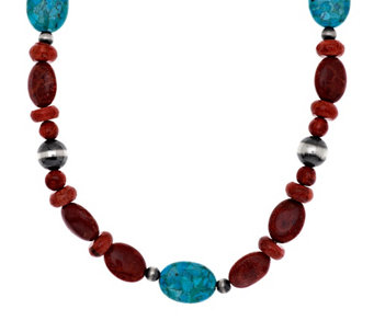 """As Is"" American West Composite Coral & Turquoise 21- 3/4"" Necklace - J334446"