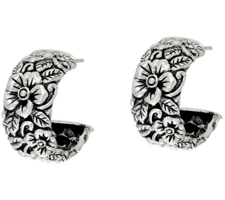 JAI Sterling Silver Carved Floral Hoop Earrings