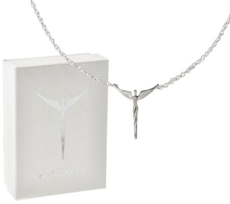 Sterling Silver Petite Angel Necklace by Steven Lavaggi
