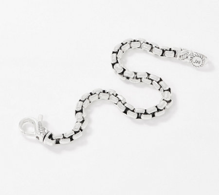 Jai Sterling Silver Round Box Chain Bracelet 21 4g