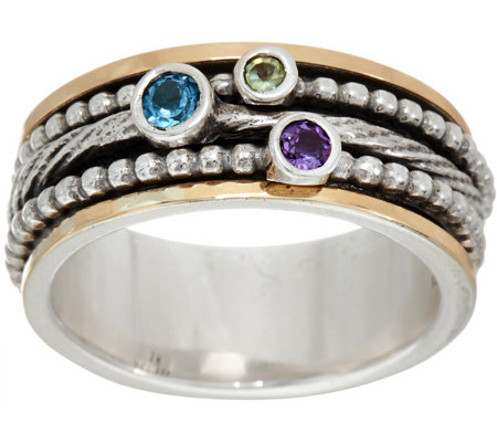 Or Paz Sterling Silver & 14K Gold Multi-Gemstone Spinner Ring
