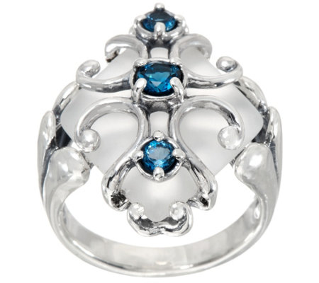 Carolyn Pollack Sterling Silver Frosted Quartz & Blue Topaz Ring