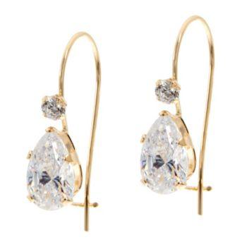 Diamonique 2.10 ct tw Pear Earrings 14K Gold