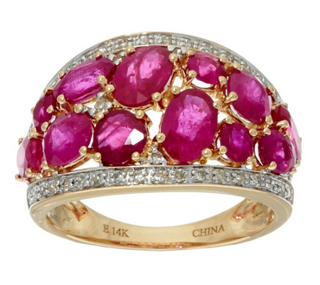 """As Is"" Ruby, Emerald or Sapphire & Diamond Domed Ring 14K,2.50ct"