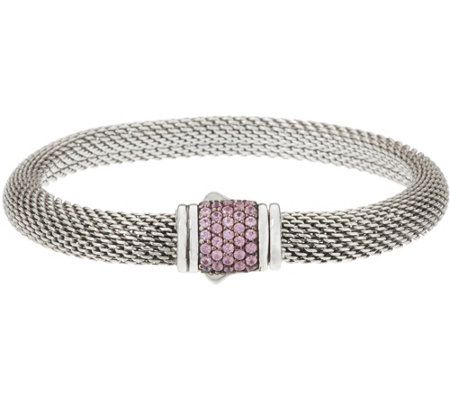 """As Is"" JAI Sterling Silver Pave' Sapphire Mesh Clasp Bracelet"