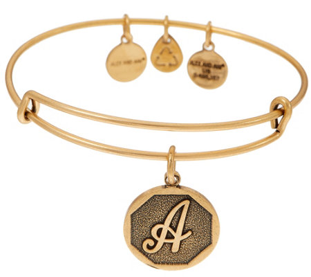 Alex and Ani Goldtone Initial Charm Bangle