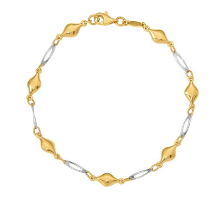 14K Gold Two-Tone Diamond & Rectangle Link Bracelet, 2.8g