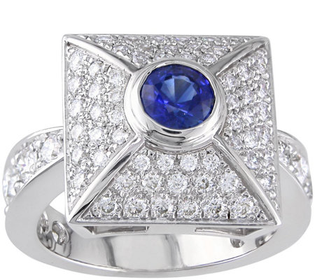 18K Gold 0.55 ct Sapphire & 1-3/10 ct Diamond Cocktail Ring